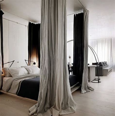 Four Poster Drapes - four poster bed using curtain rods and curtains