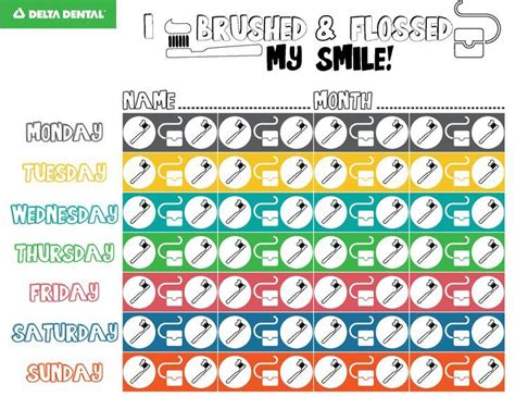 brushing  flossing chart  track daily