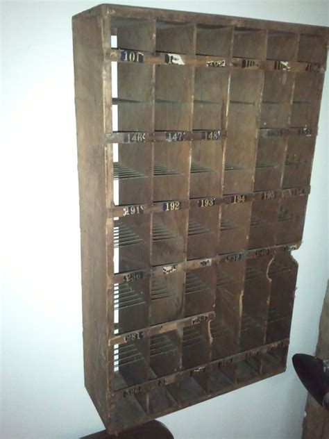 antique mail sorter industrial post box wood