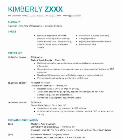 Gis Analyst Resume Sle by Gis Analyst Objectives Resume Objective Livecareer