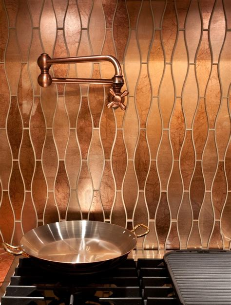 Kitchen Splashback Tiles Ideas - stunning copper backsplash for modern kitchens decozilla