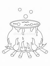 Cauldron Coloring Witch Halloween Clipart Illustration sketch template