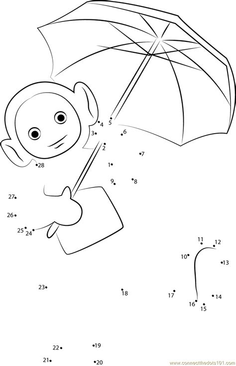 laa laa with umbrella dot to dot printable worksheet connect the dots