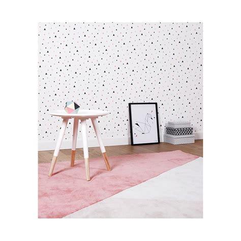 tapisserie chambre bébé papier peint enfant géométrique triangle noir et corail
