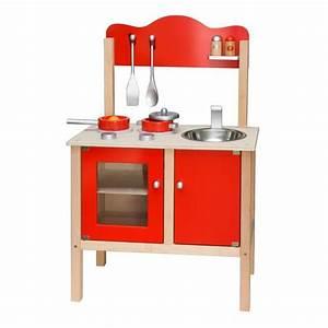 Cuisine Bebe Bois : cuisine en bois avec accessoires enfant 3ans rouge achat vente evier de cuisine cuisine ~ Teatrodelosmanantiales.com Idées de Décoration
