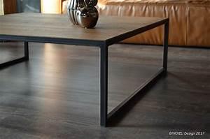 Table Contemporaine Bois Et Metal : table basse carr e 110 x 110 contemporaine bois m tal micheli design ~ Teatrodelosmanantiales.com Idées de Décoration