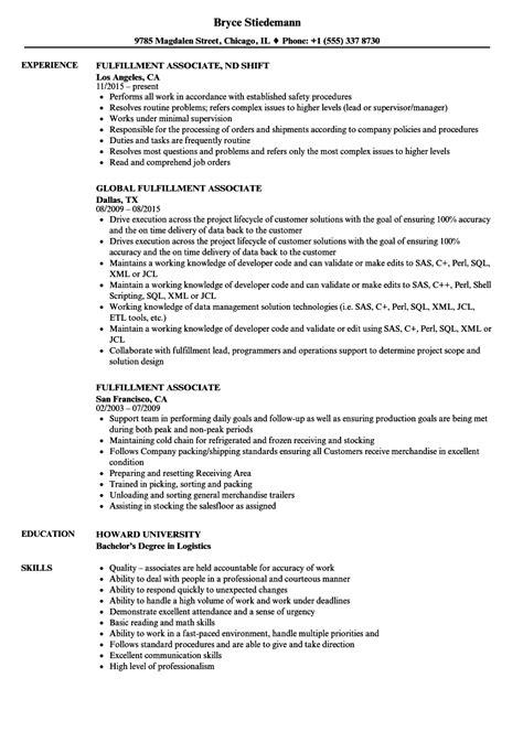 Fulfillment Associate Resume Samples | Velvet Jobs
