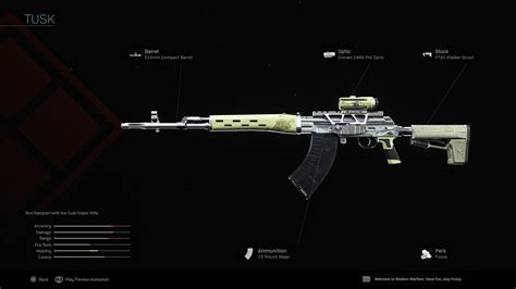 warzone tusk blueprint sniper cod legendary weapons weapon warfare modern rifles duty call class stats dragunov blueprints shot attachments guide
