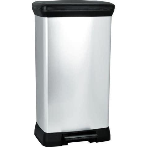 poubelle cuisine pedale 50l curver poubelle à pédale 50l aspect métal argent achat