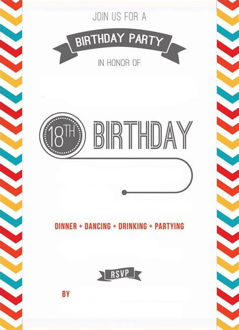 Free Printable 18th Birthday Invitation Template
