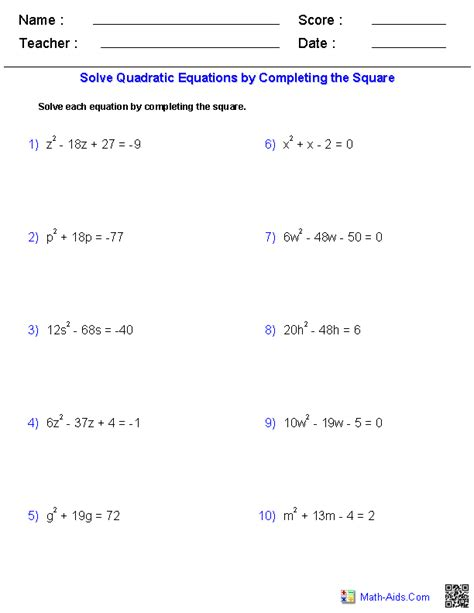 algebra  worksheets quadratic functions worksheets