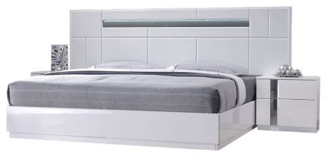 palermo modern bedroom set white lacquer  piece set