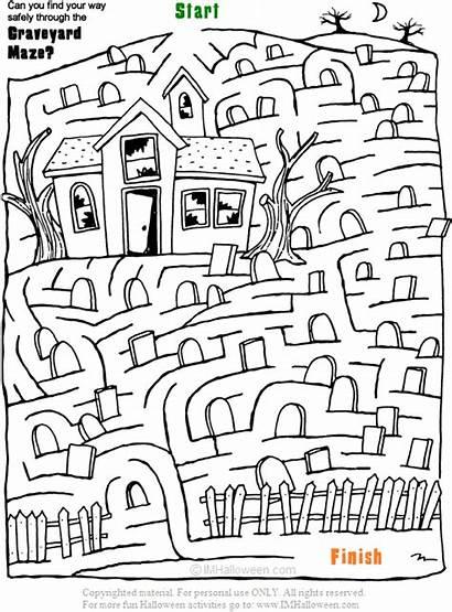 Halloween Graveyard Fun Maze Spooky Activities Coloring