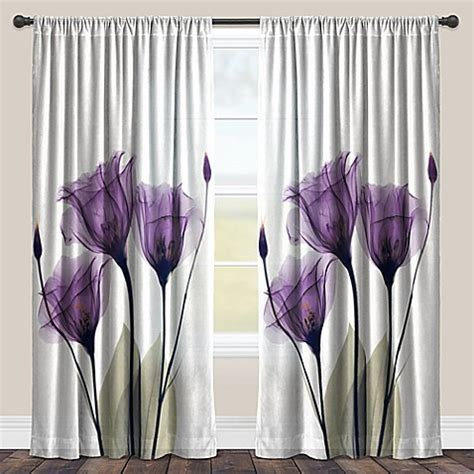 Laural Home® Lavender Hope Rod Pocket Sheer Window Curtain