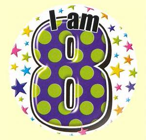 8th Birthday Badge Green and Purple Party Wizard