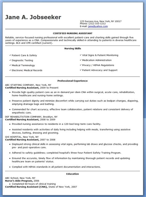 Exles Of Cna Resumes by Free Sle Certified Nursing Assistant Resume Resume