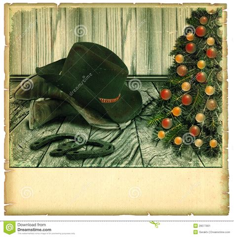 vintage cowboy christmas cardamerican background stock