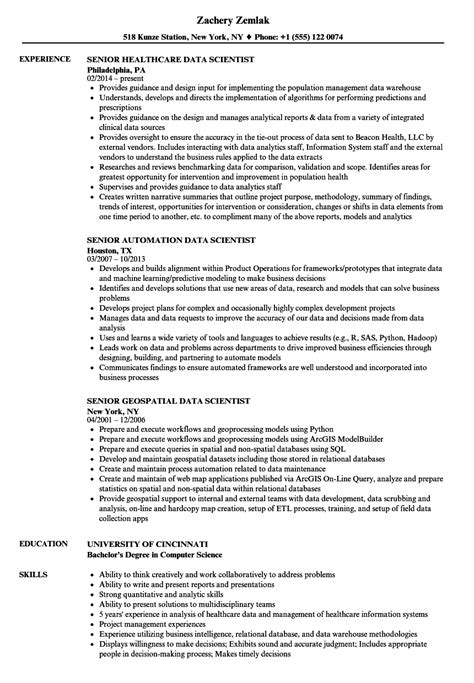 Senior Data Scientist  Data Scientist Resume Samples