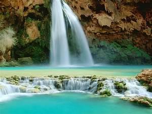 Waterfall, In, Arizona, Havasu, Falls, Desktop, Wallpaper, Hd