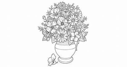 Coloring Flower Pot Bouquet Pages Printable Flowers