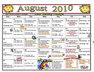 retirement life care journal august assisted living With assisted living activity calendar template