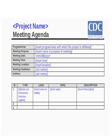 action agenda templates   word  format