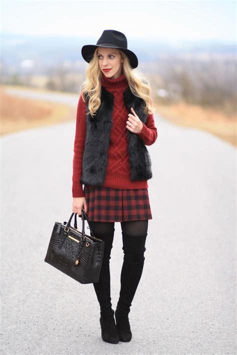 burgundy plaid faux fur vest cable knit turtleneck