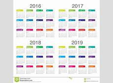 Kalender 2016 2017 2018 2019 Vektor Abbildung
