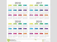 Календарь 2016 2017 2018 2019 Иллюстрация вектора