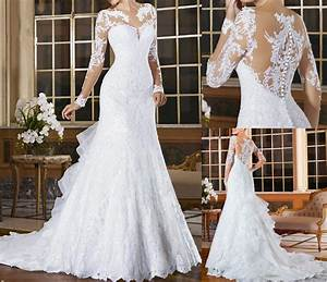 New White Ivory Wedding Dresses Mermaid Long Sleeves Lace