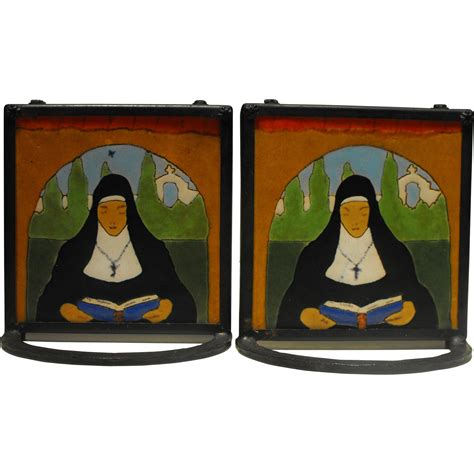 san jose mission mexican arts and crafts tile bookends in