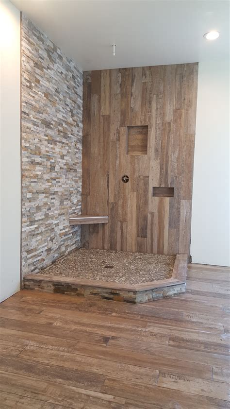 shower wood  tile quartzite ledger  pebbles