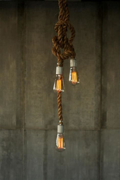 rope pendant light rustic industrial chandelier with rope id lights