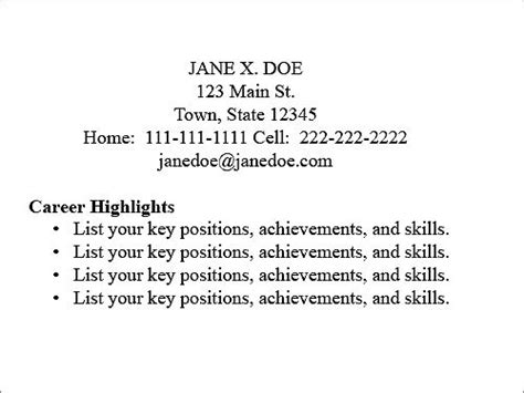 mini resume business card exles resume type decoder boston