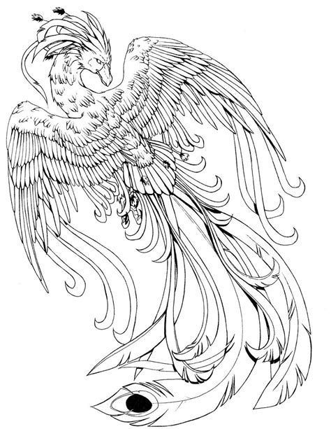 Phoenix B/W by kissy-face on DeviantArt | Bird coloring pages, Harry potter coloring pages