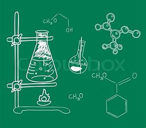 Old Science And Chemistry Laboratory Sketches On School
