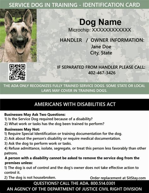id card service dog  training