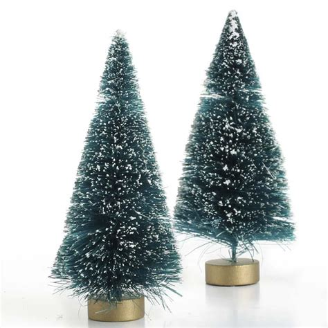 frosted green bottle brush trees trees  toppers