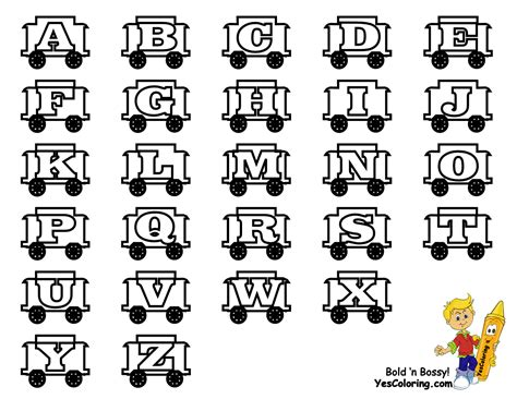 toy train learning letters  alphabet coloring