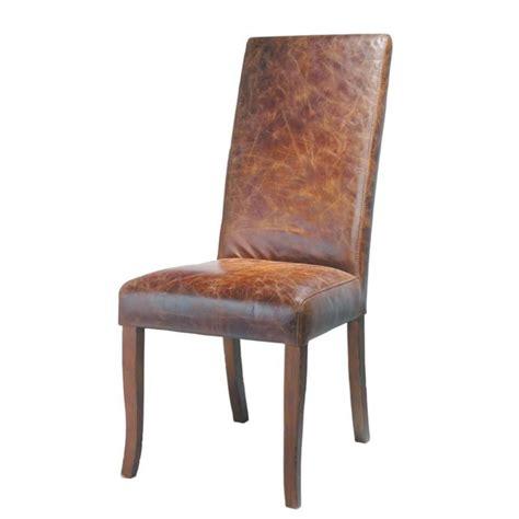 chaise antique en bois chaise en cuir et bois marron vintage maisons du monde