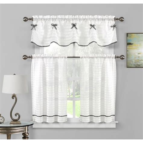 White And Silver Valance by Duck River Carlee Kitchen Valance In White Silver 15 In