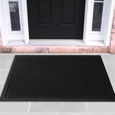Doormat Rubber by Ottomanson Charcoal 24 In X 36 In Scraping