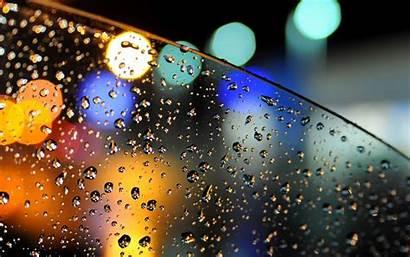 Rain Lights Bokeh Water Glass Drops Wallpapers