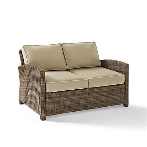 crosley biltmore outdoor wicker loveseat with sand
