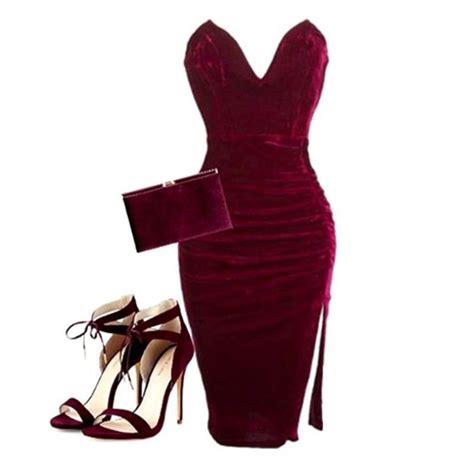 Dress red velvet dress bustier dress cleavage red dress sexy dress bodycon dress pouch ...