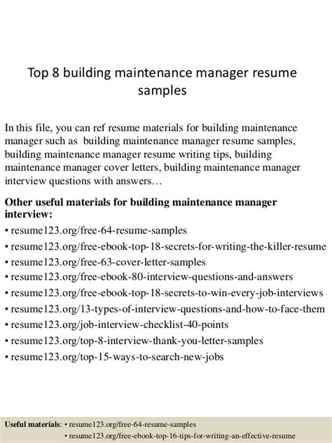 top 8 building maintenance manager resume sles