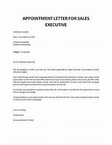 Appointment, Letter, For, Sales, Executive