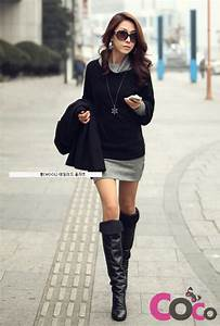 Black Long Sleeves Fall/Winter Collection Korean Fashion ...