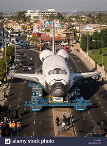 Aerial of the NASA space shuttle Endeavour stopped at the ...