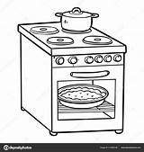 Coloring Electric Stove Children Vector Cartoon Kitchen Savva Ksenya Depositphotos sketch template